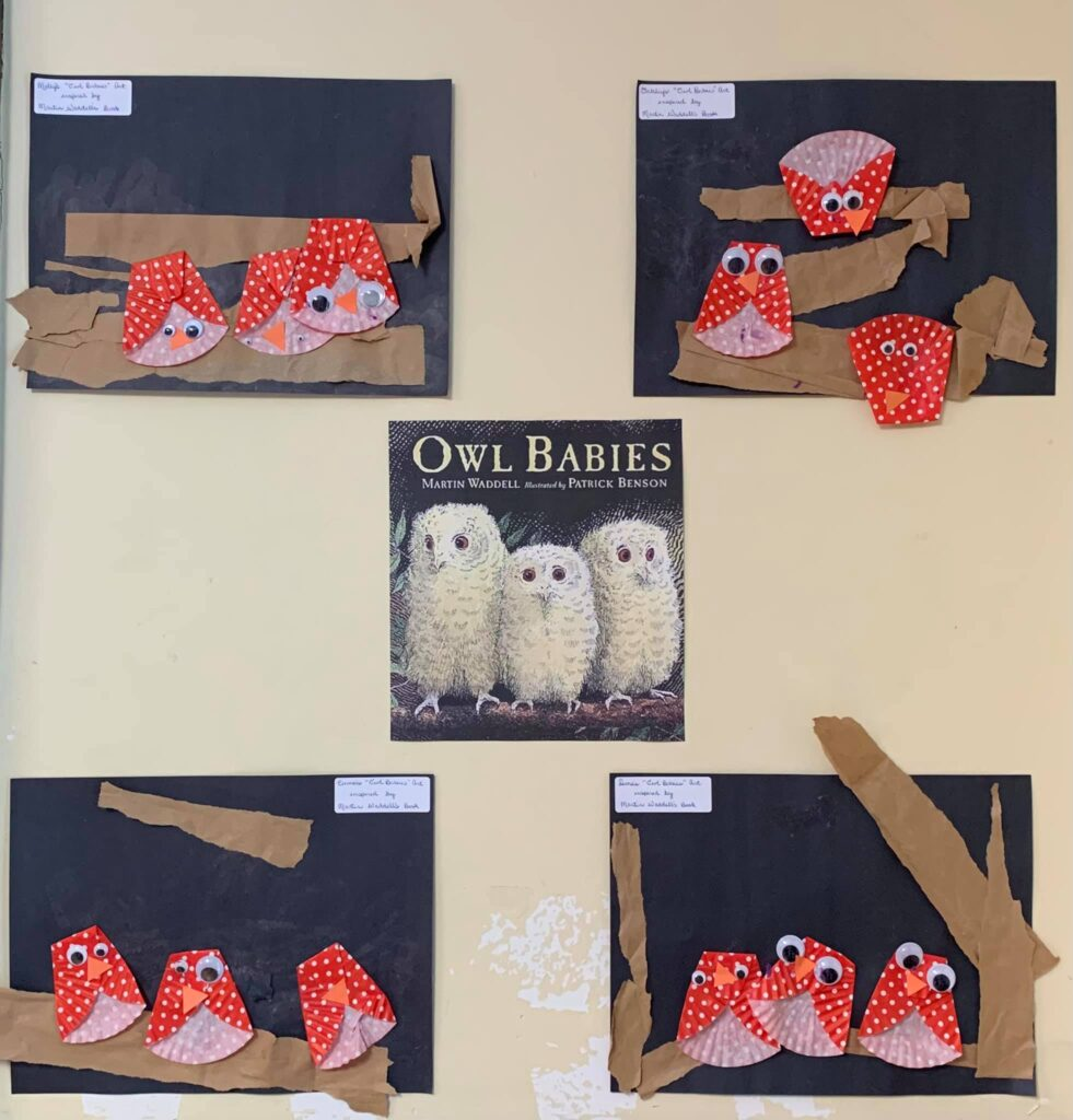 The preschoolers read Owl Babies by Martin Waddell and we made our own little owl babies!